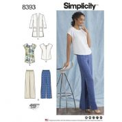 8393 Simplicity Pattern: Misses'/Womans Trousers, Tunic, Top and Cardigan